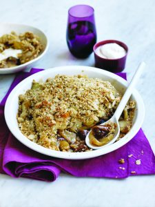 Apple and fig crumble with almond chia topping