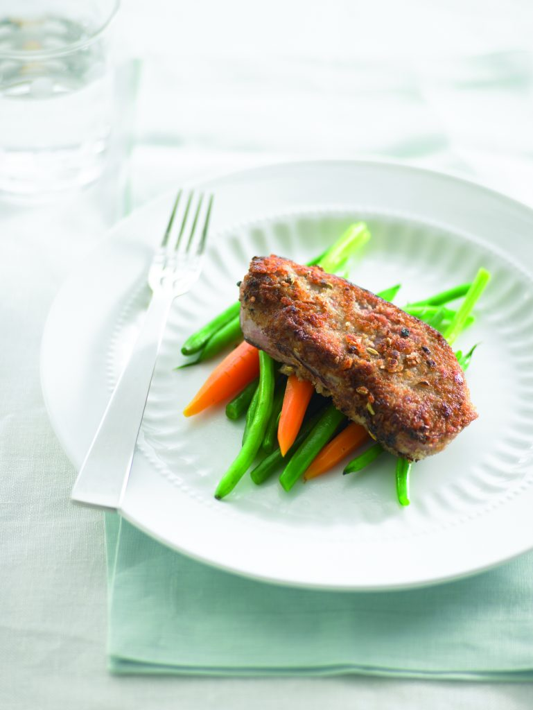 Apricot-crumbed lamb steaks