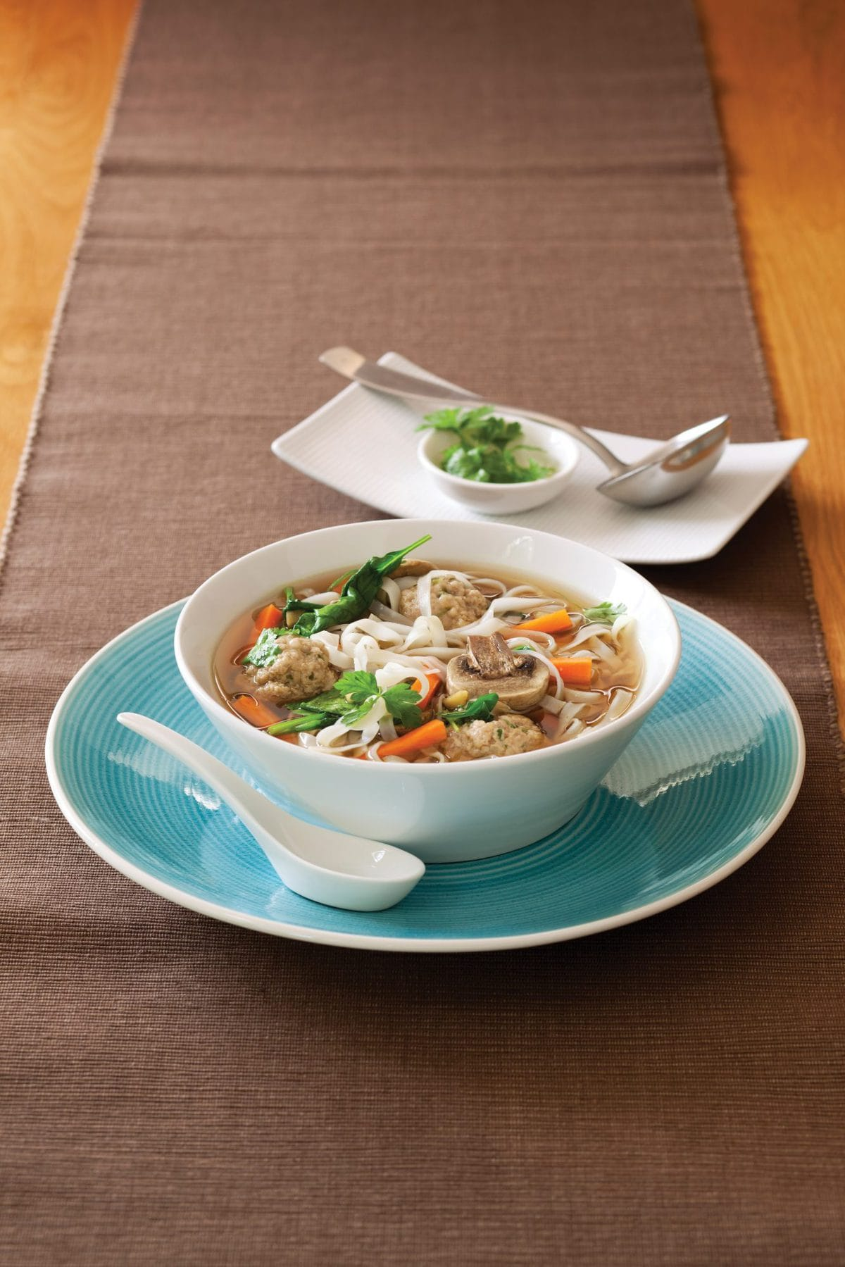 Asian-style meatball and noodle soup