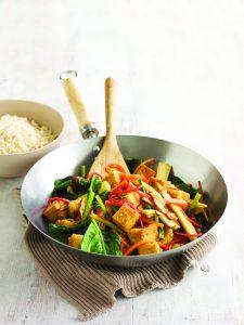 Asian vegetable stir-fry with ponzu sauce