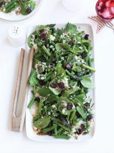 Asparagus, bulgur and dried cherry salad with spiced dressing