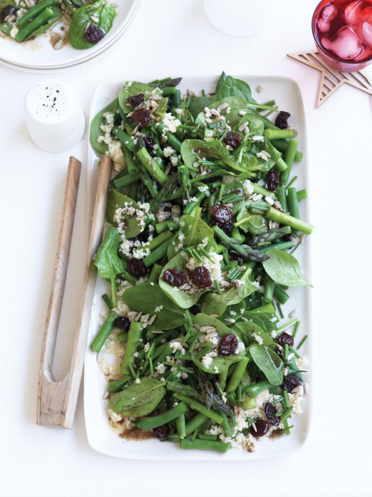 Asparagus, bulgar and dried cherry salad with spiced dressing