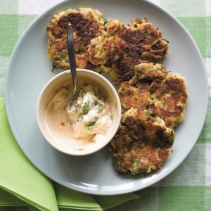 Asparagus and courgette fritters with dill cream