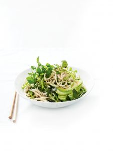 Avocado and chicken noodle salad with sesame dressing
