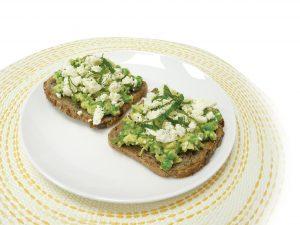 Avocado, pea and feta toast