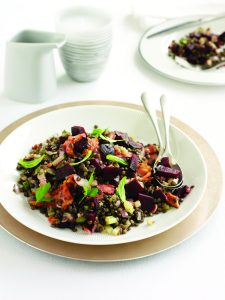 Bacon, beetroot and lentil salad