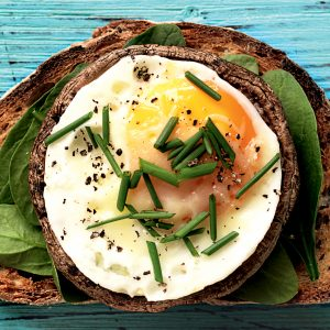 Baked egg and mushroom toast topper