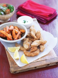 Baked fish and chips with lemon yoghurt