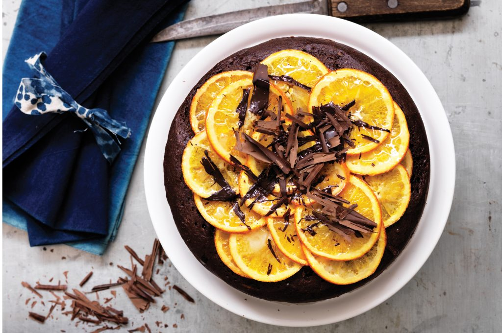 Baked ricotta, chocolate and orange cake
