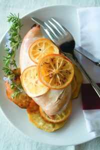 Baked chicken with lemon and kumara