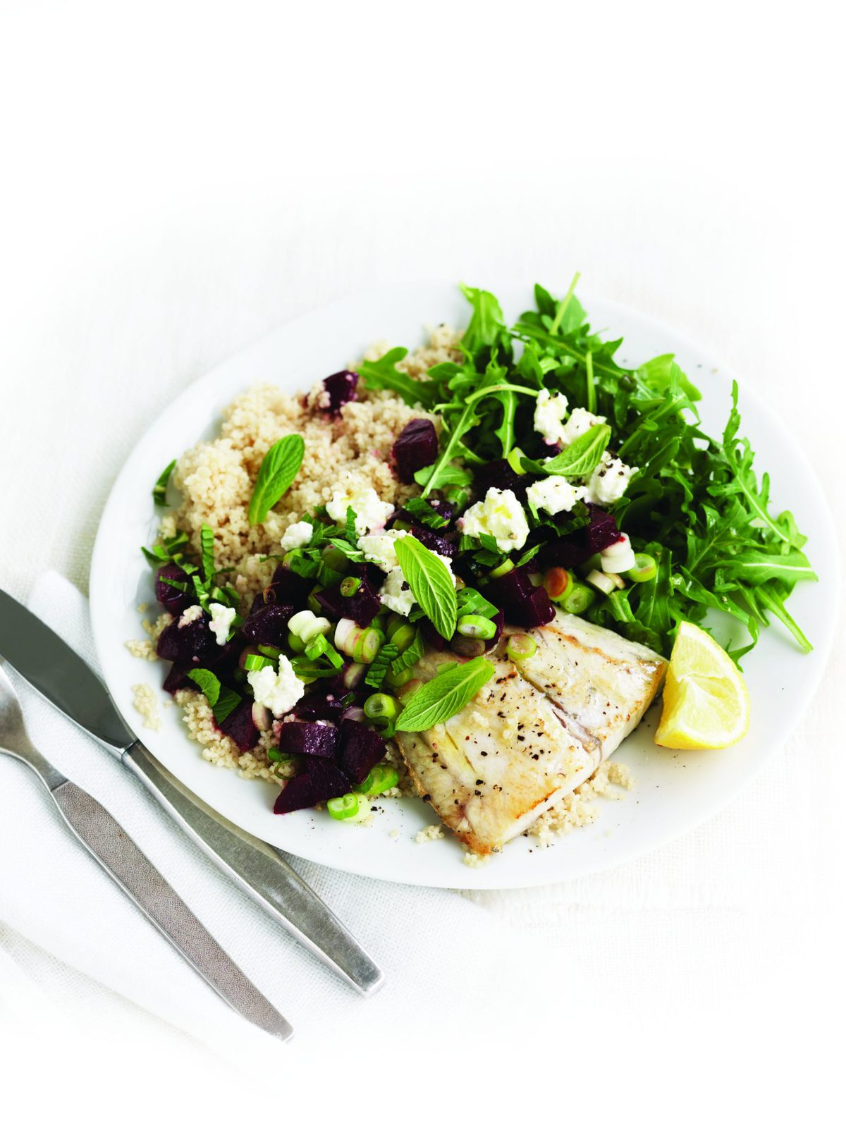 Baked fish with beetroot and mint salsa