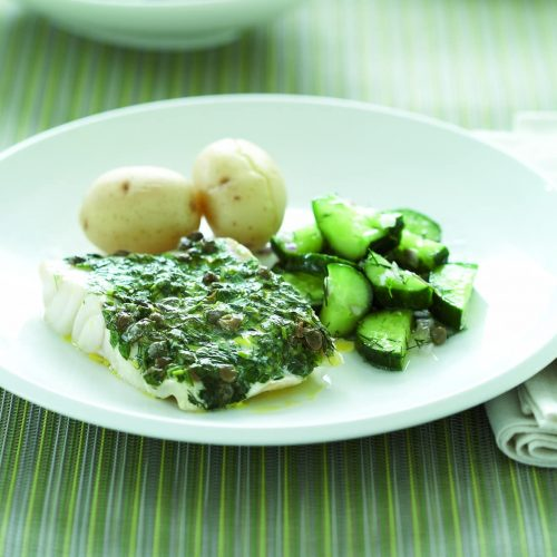 Baked fish with cucumber salad