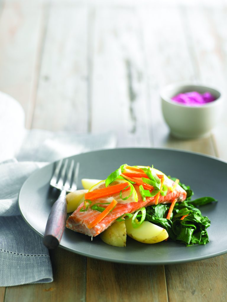 Baked salmon with beetroot tzatziki