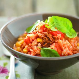Baked tomato rice with tuna