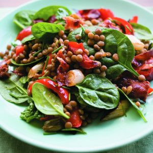 Balsamic lentils with bacon and capsicum