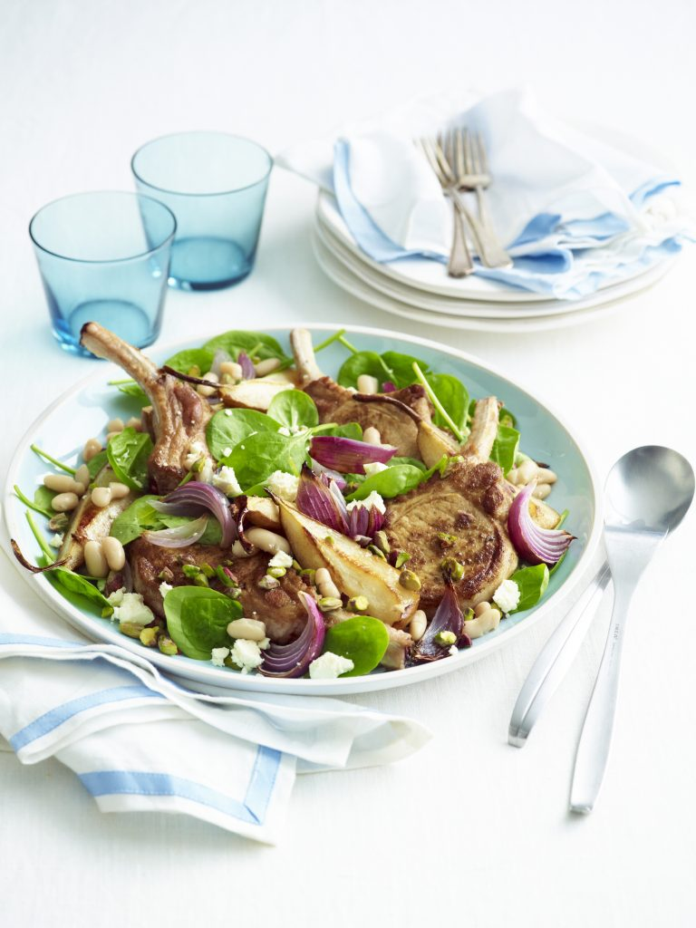 Balsamic pork with roasted pear, spinach and feta salad