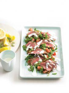 Barbecued lamb with lentil salad and lemon yoghurt dressing
