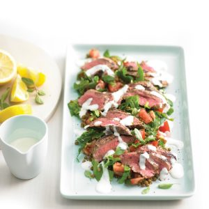 Barbecued lamb with lentil salad and lemon yoghurt dressing