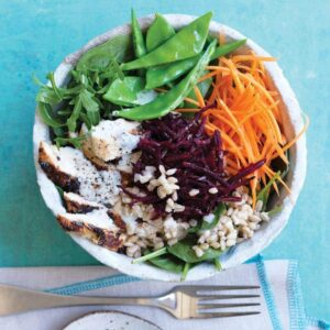 Barley, beetroot and chicken salad with tahini dressing