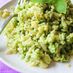 Basil pesto with risoni