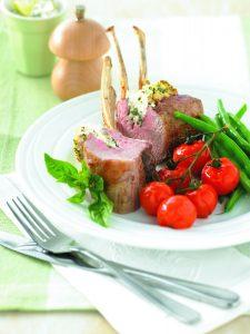 Basil-ricotta lamb with balsamic tomatoes
