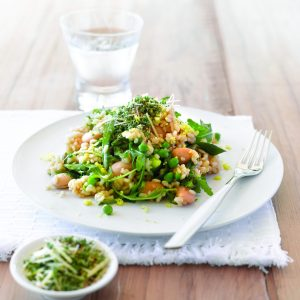 Bean, pea and lemon risotto