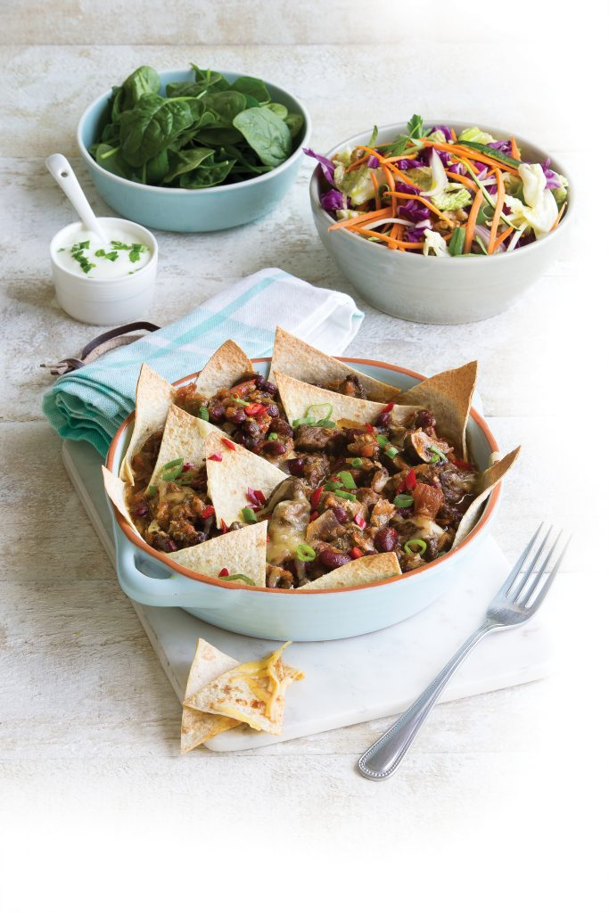 Beef and tortilla cheesy bake with slaw