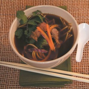 Beef and vege udon noodle soup