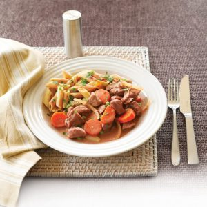 Beef and vegetable stroganoff