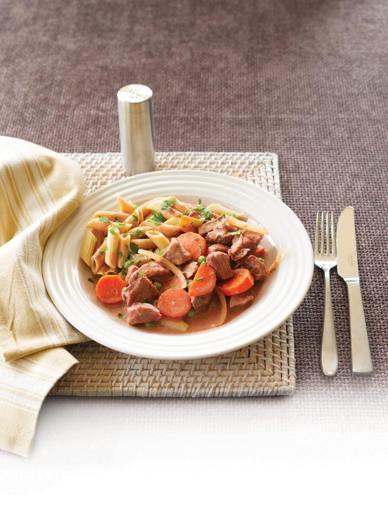 Beef and vegetable stroganoff