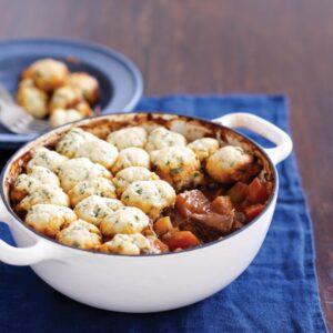 Beef goulash with herb dumplings