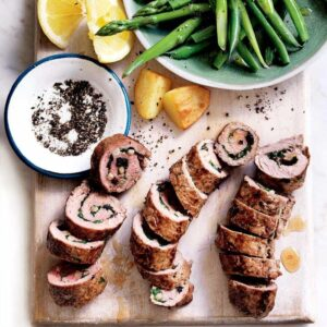 Beef involtini with currants and pine nuts