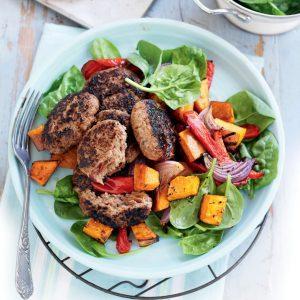 Beef patties with pumpkin salad