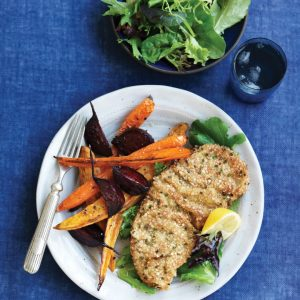 Beef schnitzel with roast vege wedges
