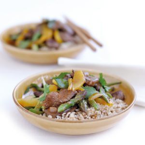 Beef, vegetable and orange stir-fry