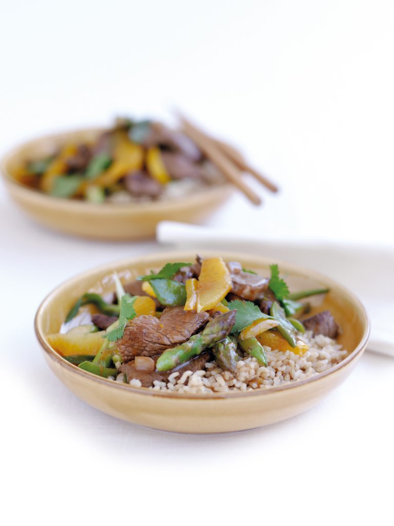 Beef, vegetable and orange stir-fry