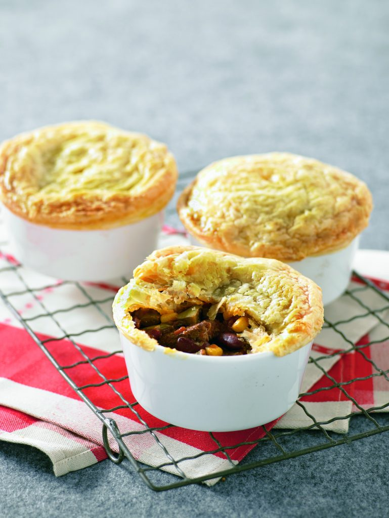 Beef and chilli bean pies