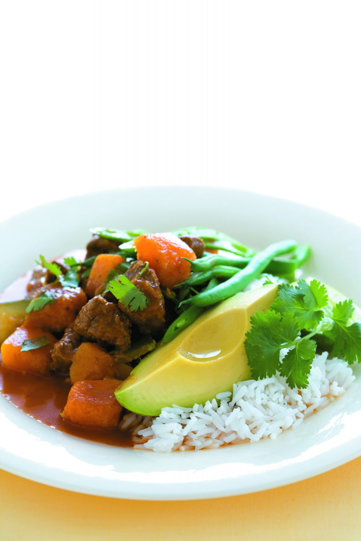 Beef curry with avocado