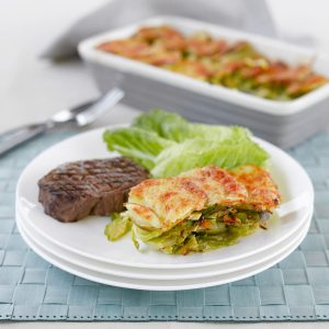 Beef steaks with Brussels sprout and potato gratin