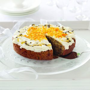 Beetroot cake with orange frosting