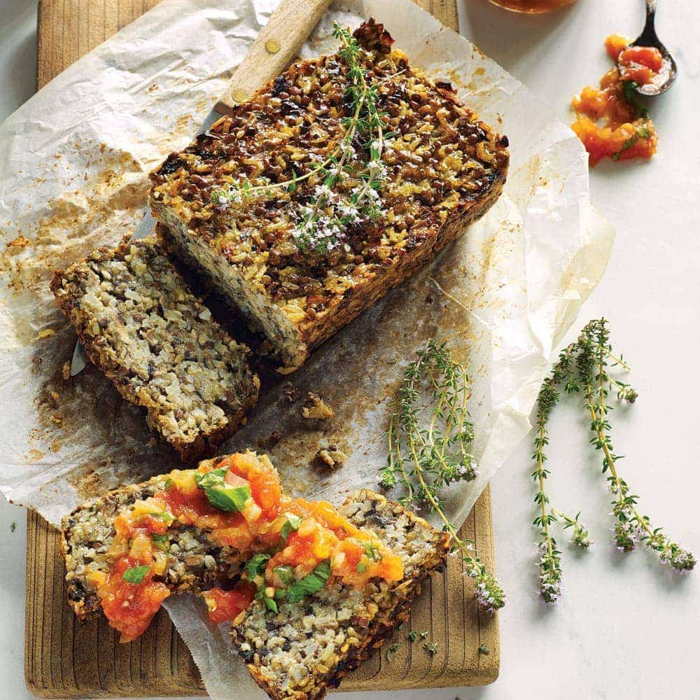 Brown rice, lentil and mushroom loaf with fresh tomato sauce