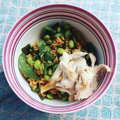 Brown rice salad with chilli peanut dressing