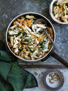 Brussels sprouts, pumpkin and blue cheese pasta