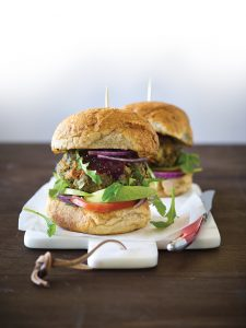 Burgers with beetroot relish, rocket and avocado