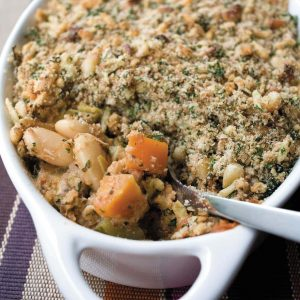 Butter bean and vegetable crumble