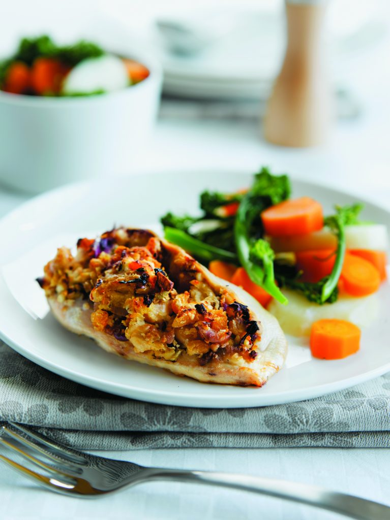 Butter bean and apricot-stuffed chicken