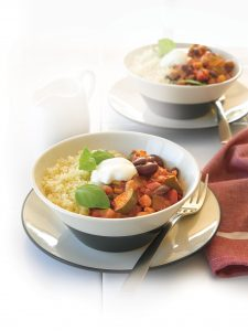 Cajun bean casserole with couscous and minted yoghurt