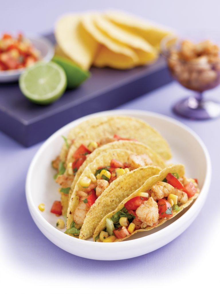 Cajun fish tacos with corn salsa