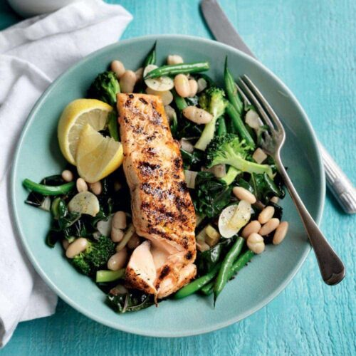Cajun salmon with garlic greens