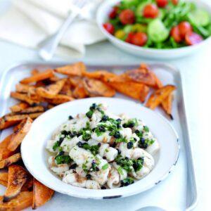 Calamari with parsley, garlic and currant dressing